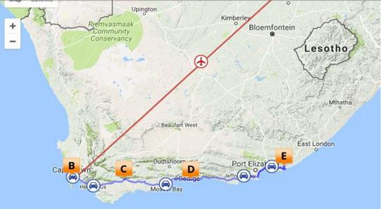Kart Sør-Afrika